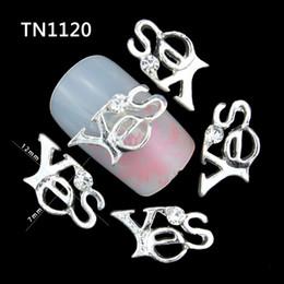 letras brillantes con strass Rebajas 10 Unids 3D Nail Art Decoraciones Diy Glitter Letras de Aleación de Plata SI Encanto Claro Rhinestones Para Uñas Herramientas