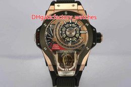 Wholesale Mps Watches - Luxury Brand Basel MP-09 Rose Gold Sport Tourbillon Swiss Automatic big size Men's Watch Skeleton Dial Black Rubber Strap Mans Wristwatche