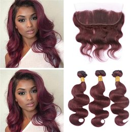 Wholesale 99j Hair Color Weave - Wine Red Burgundy Brazilian Hair Bundles with Lace Frontal Closure #99J Body Wave Human Hair Weaves with 13x4 Frontal