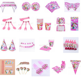 Wholesale paper popcorn boxes - 18styles unicorn theme party decoration happy birthday paper cup plated hat popcorn box unicorn theme party Christmas Toy set GGA575 30sets