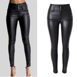 2019 sexy hoch taillierte skinny jeans Frauen Sexy Kunstleder Stretch Skinny Hose Lady Schwarz Hohe Taille Slim Jeans Hosen günstig sexy hoch taillierte skinny jeans