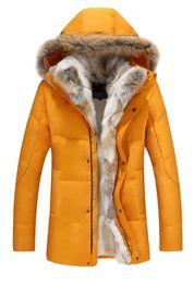Down parka 5xl on-line-Homens Winter Designer Duck Down Jackets Coats real Fur Homens Moda Thick Quente Parka homens clássico Jackets