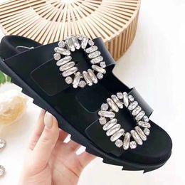 Wholesale media diamond - RV Original Quality Sandals Fashion Brand Dual Diamond Design Slippers Causal Slide Huaraches Flip Flops Loafers by Free Shipping shoe001