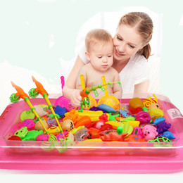 Wholesale Pool Toys Games - 40pcs lot With Inflatable pool Magnetic Fishing Toy Rod Net Set For Kids Child Model Play Fishing Games Outdoor Toys