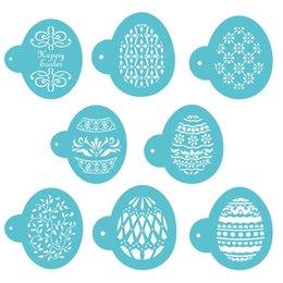 Wholesale Easy Mold - Plastic Cake Printing Mold Durable Easy To Clean Cookie Stencils Useful Easter Egg Shape Coffee Art Template Blue 7 2yb B