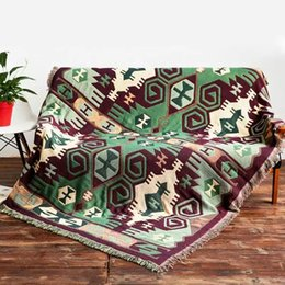 Alfombras turcas online-Bohemia 100% hilos de algodón Alfombra para sofá Sala de estar Dormitorio Alfombra Sofá Kilim Manta Patrón étnico turco Tapiz
