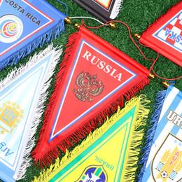 Bandiera di stringa di striscioni online-Bandiera d'attaccatura di calcio del calcio dell'insegna della squadra nazionale della coppa del Mondo 2018 con la corda di caduta 23 * 38cm TRASPORTO LIBERO del DHL