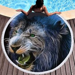 Canada Lannidaa Animaux Lions Serviette De Plage Rond Microfibre Serviettes Imprimés Pique-Nique Couverture Yoga Plage Tapis Toalla De Playa Offre