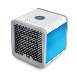 Cooler mini usb umidificador de ar on-line-2018 mais novo 3 em 1 Mini Ar Condicionado Ventilador de Refrigeração de ar Portátil LEVOU Luzes USB Ventilador Do Refrigerador Do Ar Umidificador Purificador para Home Office