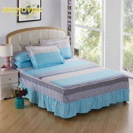 blue modern bedding sets Coupons - summer fashion modern stripes bed skirt pillow cases 3pcs sheet set double full twin size