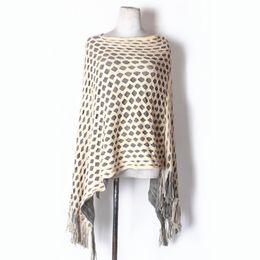 Wholesale Womens Sweater Shawl - New Womens Double Layer Irregular Tassel Poncho Cape Shawls Wrap Hallow Lattice Batwing Knit Sweater