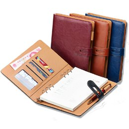 Wholesale Agenda Leather Cover - A6 A5 B5 A4 filofax business PU leather diary cover agenda blue wine black  office professional planner book