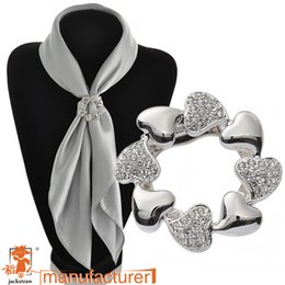 Wholesale Cheap White Scarves - Korean new fashion vesion of heart handmade cheap rhinestone silver brooches and scarf buckle dual for wedding dresses