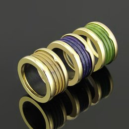 Wholesale Titanium Band Ring Blue - Best price New arrival 316L Stainless Steel Rings with blue and green and coffee nature stone for man and Women Rings Wedding Jewelry in 6#-