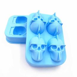 Herramienta de forma de caramelo online-Forma del cráneo 3D Ice Cube Mold Maker Bar Party Bandejas de silicona Case Halloween Cake Candy Mold Herramienta de cocina Regalo 8 colores Elige 12 * 8.5 * 5cm