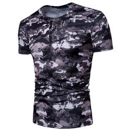 Botões mistos da roupa on-line-Homens verão T-Shirt Slim Sports Cor Misturada Impresso Homens Mangas Curtas Botão Moda Camuflagem Roupas Casuais