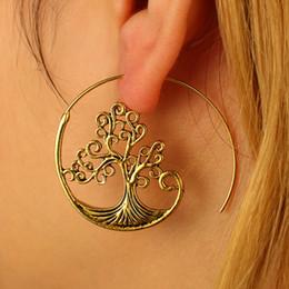 Trendy Vintage Gold Round spirale boucles d'oreilles Punk exagéré grand cercle Punk Tree Leaf Whirl Pool Gear Boucles d'oreilles Bohème ? partir de fabricateur
