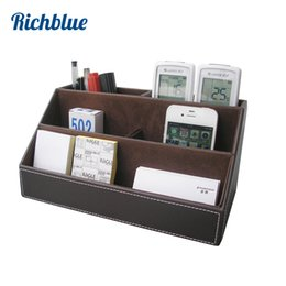 Wholesale Wood Desktop Box Organizer - Wholesale-PU Leather Desktop Organizer Stationery Storage Box Pen Pencils Holder Remote Control Case Container Box