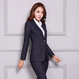 68b1b979946d Uniform Designs Formal Pantsuits Professional Blazers With Jackets And Pants  For Women Business Pants Suits Casual Striped