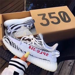 Wholesale light up bowls - Best SPLY 350 V2 boost Semi Frozen triple white Zebra UV light Kanye west sneakers Men Women Running Shoes size 5-11.5 With Box