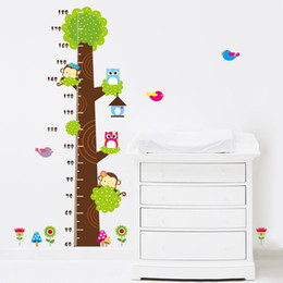 Wholesale decal stickers print paper - 90*60CM owl monkey butterfly flower tree growth chart wall art home decorations animal stickers cartoon children wall decals