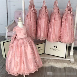 Wholesale Father Christmas Cover - 2018 Cute Jewel Neck Flower Girls Dresses Long Sleeve Appliques Lace Back Cover Big Bow Puffy Ball Gown Communion Dresses Girls Pageant Gown