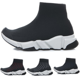 Wholesale girls red boots kids - Fashion Baby Kids Socks Boots Children Athletic Shoes Slip-On Casual Flats Speed Trainer Sneaker Boy Girl High-Top Running Shoes Black White