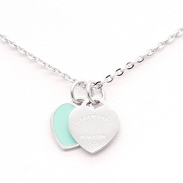 Wholesale Double Suspension - New Stainless Steel Chain Enamel Double Heart Love Necklaces women necklace Fashion Trendy Paired Suspension Pendants Model Mixed 9 colors