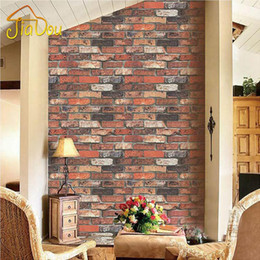 Wholesale Red Vinyl Wallpaper - Wholesale-Nature Vintage Three-dimensional Red Brick Stone Texture Vinyl Interior Wallpaper Roll Sofa TV Room Background Decor Wall Paper
