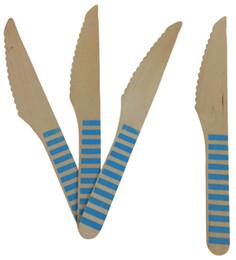 Poudre de fête bleue en Ligne-50 pcs 6.5 polegada poudre bleu rayé couteaux en bois jetables en bois ustensiles de coutellerie pour noël mariage fête d'anniversaire vaisselle fournitures de table