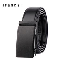 Wholesale Jeans Suits For Men - IFENDEI Genuine Leather Belt Men Fashion Luxury Automatic Buckle Belts 130cm Black Business Men's Strap Wild For Suit Jeans