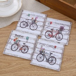 Wholesale Vintage Cup Holder - LINKWELL 4pcs set 10x10cm Vintage Bicycle Bike ZAKKA Cup Mat Place PU Leather Bar Coaster Table Cup Holder Drink Placemat Mat