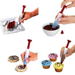 Wholesale Silicone Cake Decorating Pen - Cake Decorating Pen Silicone Food Writing Pen Cake Cookie Cream Pastry Chocolate Decorating Pen DIY Personalized Cake BBA321