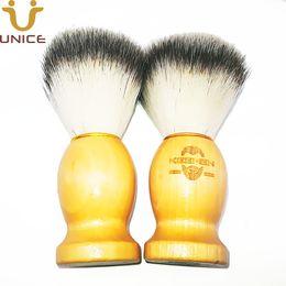 100 pçs / lote seu logotipo personalizado barba de nylon pincel de barba de madeira escova de barba gravar logotipo de madeira dos homens escova de limpeza facial de