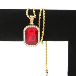 2019 bijoux en diamant bleu Colliers pour hommes en rubis et saphir carrés Rouge Bleu Vert Noir Blanc pierres précieuses en cristal de diamant pendentif Twisted chaîne pour les femmes Hip Hop Bijoux promotion bijoux en diamant bleu