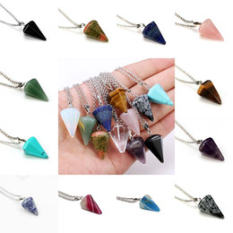 Wholesale gemstone tiger eye - Natural Golden Tiger Eye Gemstone Rock Crystal Hexagonal Pointed Reiki Chakra Pendant Pendulum Necklace Free Shipping D792S
