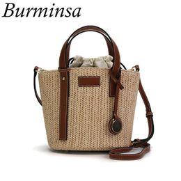 wholesale Bucket Straw Bags Women Beach Crossbody Bags Summer Ladies Tote  Shoulder Bags Rattan Handbags Fashion 2018 High Quality b8858c5a39e2c