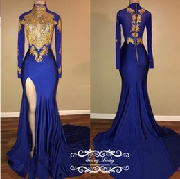 Wholesale Pink Chic - Chic Gold Appliques 2018 Royal Blue Prom Dresses With Long Sleeves Mermaid Keyhole Neck Side Split Sexy Women Graduation Dress Evening Gown