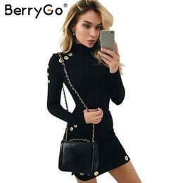 schwarze spandex-baumwoll-minikleider Rabatt BerryGo Sexy aushöhlen Baumwolle bodycon Kleid Frauen Damen Langarm schwarz Kleid Elegante Partei kurzes Kleid Vestidos de Fiesta S920