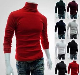 Wholesale Knit Sweaters For Winter Mens - Winter Autumn Mens Turtleneck Sweaters Black Pullovers Clothing For Man Cotton Knitted Sweater Male Sweaters Pull Hombre XXL