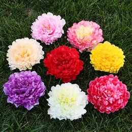 Wholesale Flower Aisle Wedding - 18CM Big Artificial Peony Head Silk Peonies Flower Heads Wedding Aisles Flowers Party Home Floral Decorative