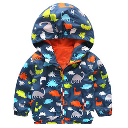 Wholesale Girls Yellow Jacket Coat - 80-120cm Cute Dinosaur Acitve Children Boy Jackets Spring Clothes For Kids Girls Trench Coats Sport Suit Camouflage Outerwear
