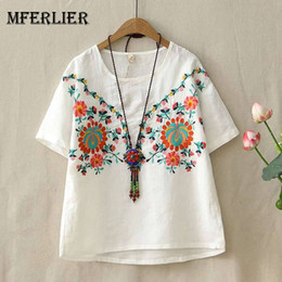Wholesale girls floral blouse - Mferlier Women Embroidery Summer Blouse O Neck Short Sleeve Flower Embroidery Artsy Mori Girl Cotton Linen Blouses