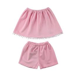 Короткие без бретелек онлайн-Kids Toddler Baby Girl Boob Strapless Pleuche Tassel Tube Tops T-Shirt+ Short Pants Pink Outfits Clothes 1-6Y