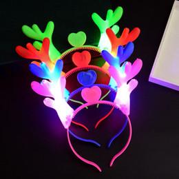 diadema navideña led Rebajas LED astas Light Up Headband intermitente palos de pelo fiesta de Navidad de Halloween prop Cosplay emisores de luz ciervos de Navidad accesorios para el cabello C5193