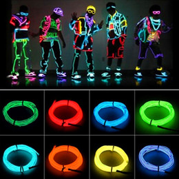 Wholesale cars commercial - 5m Flexible Neon Light EL Wire Christmas Lighting Neon Rope Strobe Glow Strip Light Flashing for Car Bicycle Party + Battery Case Controller