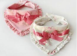 Wholesale Baby Neckerchiefs - baby girls cotton Floral bibs,Baby bow Burp Cloths pink white children's kerchief infant towel kid neckerchief not Waterproof