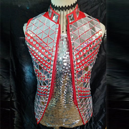 Wholesale Performance Mirror - Fashion Black Red Silver Mirror Vest Jacket Male Singer outfit Costume Rhinestones Punk Style Ds Dj Outerwear Performance Coat