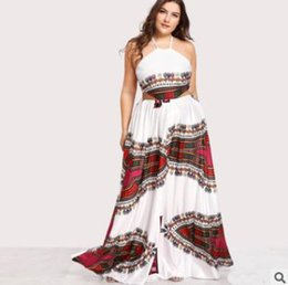 Wholesale Type Ladies Dress - Summer women dress New printing large size ladies dress Sling long skirt backless White swing type party clothing