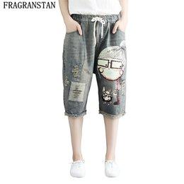 4168fd03cf8 2018 Women Summer New Fashion Plus Size Cartoon Print Denim Pants Elastic  Waist Ripped Vintage Loose Knee Length Jeans LY536 plus size jeans cartoons  for ...